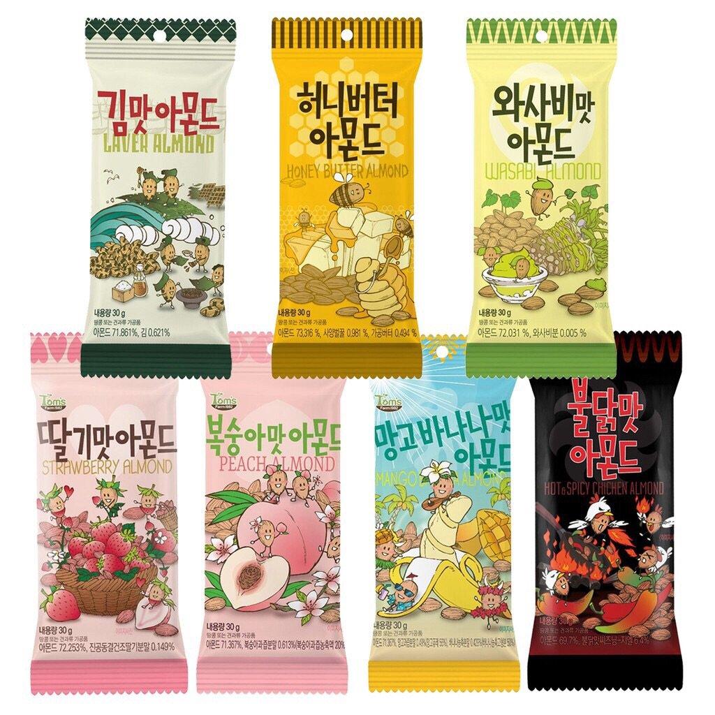 [韓國進口] 韓國 Toms 杏仁果 30g 蜂蜜奶油/芥末/水蜜桃 必買 熱銷