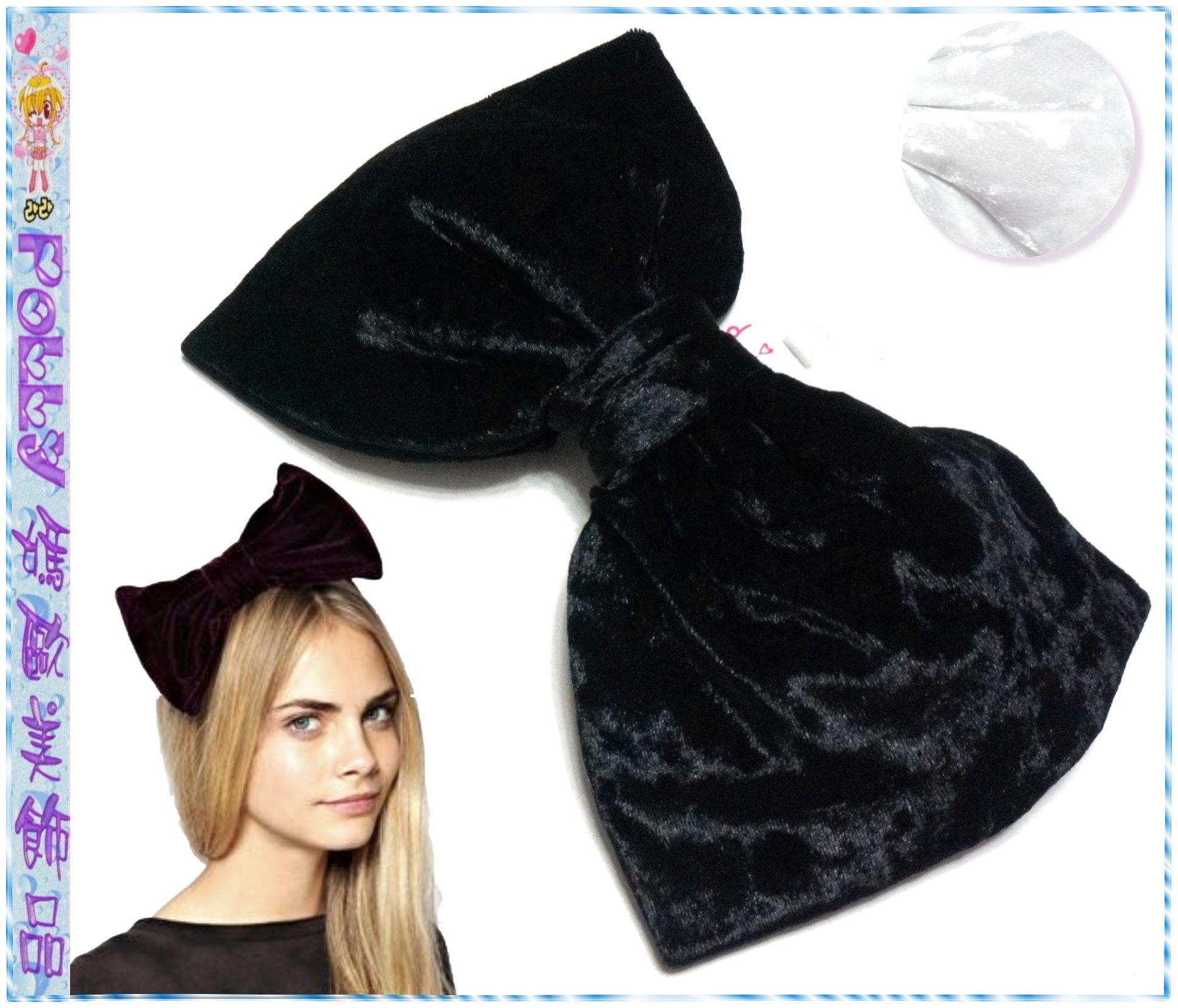☆POLLY媽☆歐美diva黑色、白色絲絨超大蝴蝶結(15.5×25.5cm)彈簧夾、鴨嘴夾