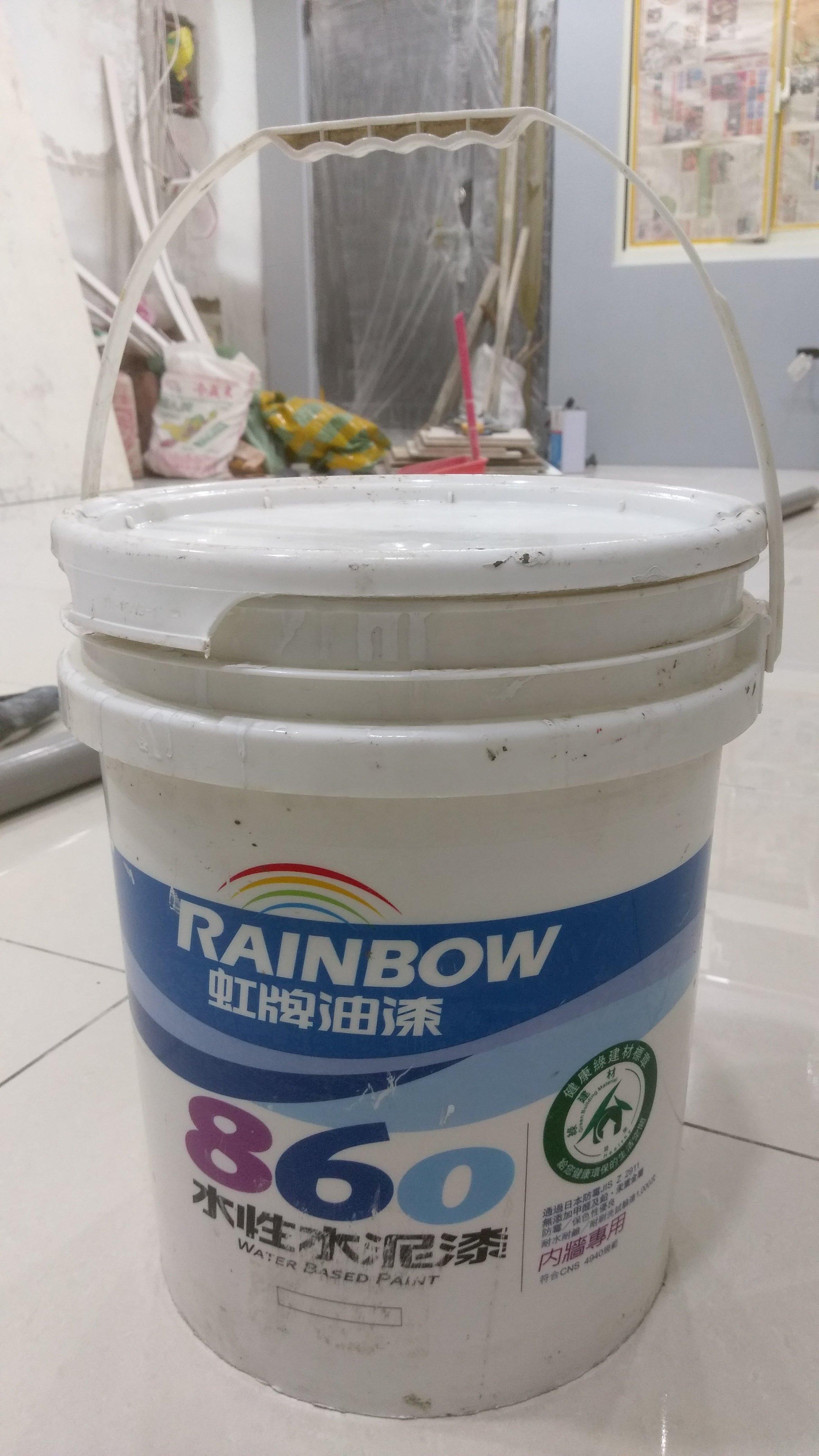 ◎【綠光艸堂】工程餘料*二手中古虹牌 油漆 860 平光水泥漆 平光室內用 白色7分滿*1桶 5加侖