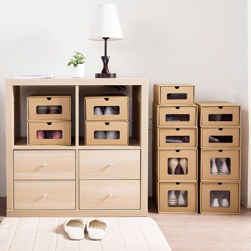 居家居家家 牛皮紙鞋子收納盒透明鞋盒子 簡易抽屜式靴子收納箱整理箱