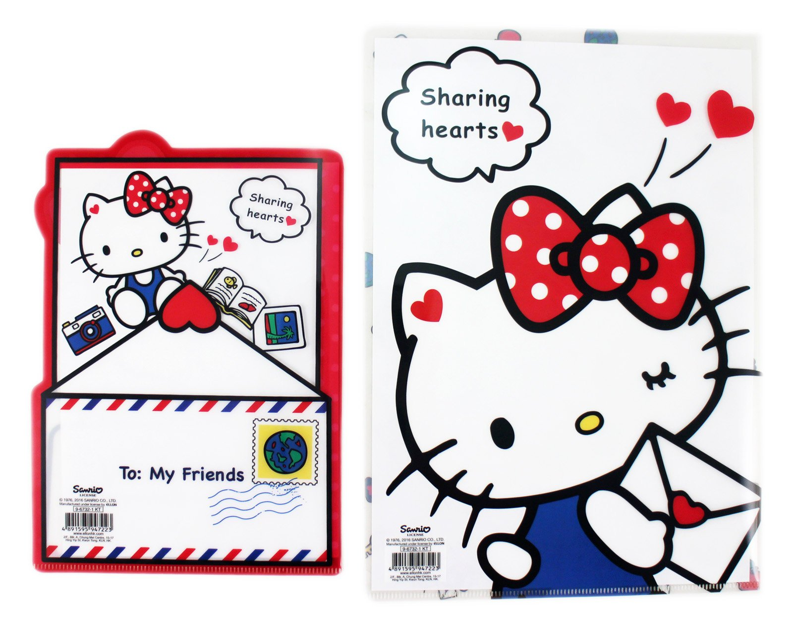 【卡漫迷】Hello Kitty 資料夾 大 小 二入組 信封圖案 ㊣版 港版 L字型 文件夾 檔案夾 A4 凱蒂貓