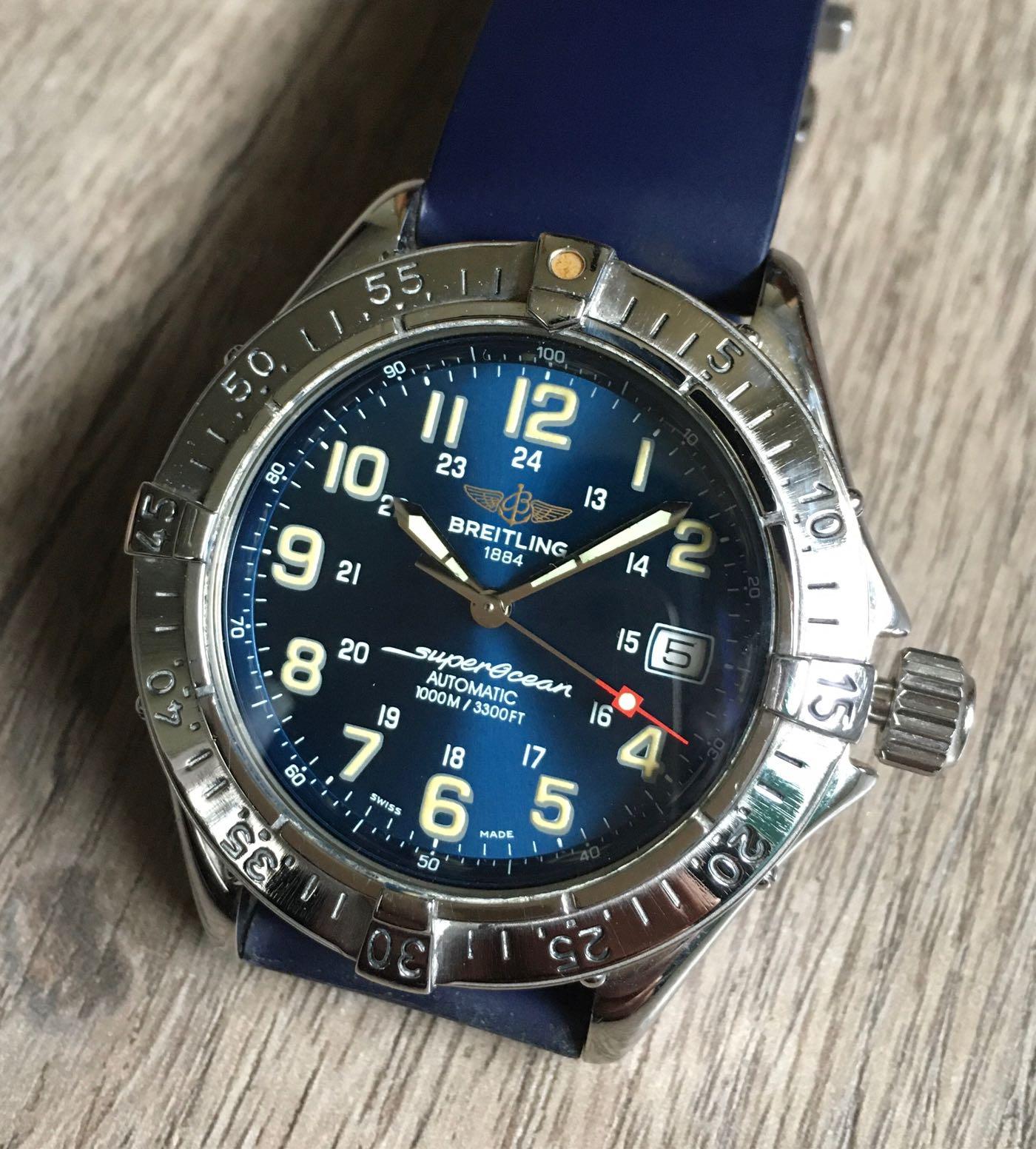 百年靈 超級海洋潛水機械錶 藍面盤Breitling superocean 1000M  A17040