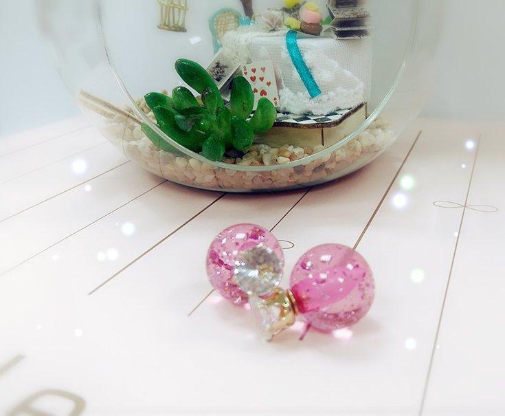☆Sweet Dream☆唯美清新氣質款水鑽皇冠透明粉紅銀箔糖球2用耳環大力丸75元 正韓直送 韓國代購 滿399免運