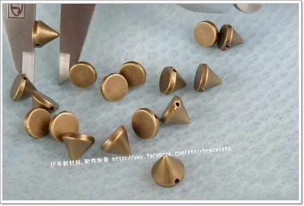 飾品  連結 古銅尖釘鉚釘 12mm 朋克搖滾風 連接 DIY 手創 handmade 手鍊 項鍊 蠟線 編織