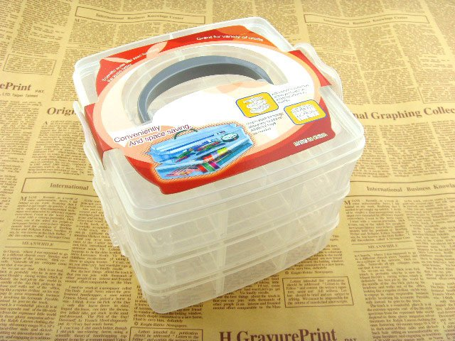((囤貨王))三層18格透明手提收納盒 首飾盒 儲物盒 整理箱 自由拼裝 橡皮筋 髮飾 釣具 露營 收納 零件 汽車 玩