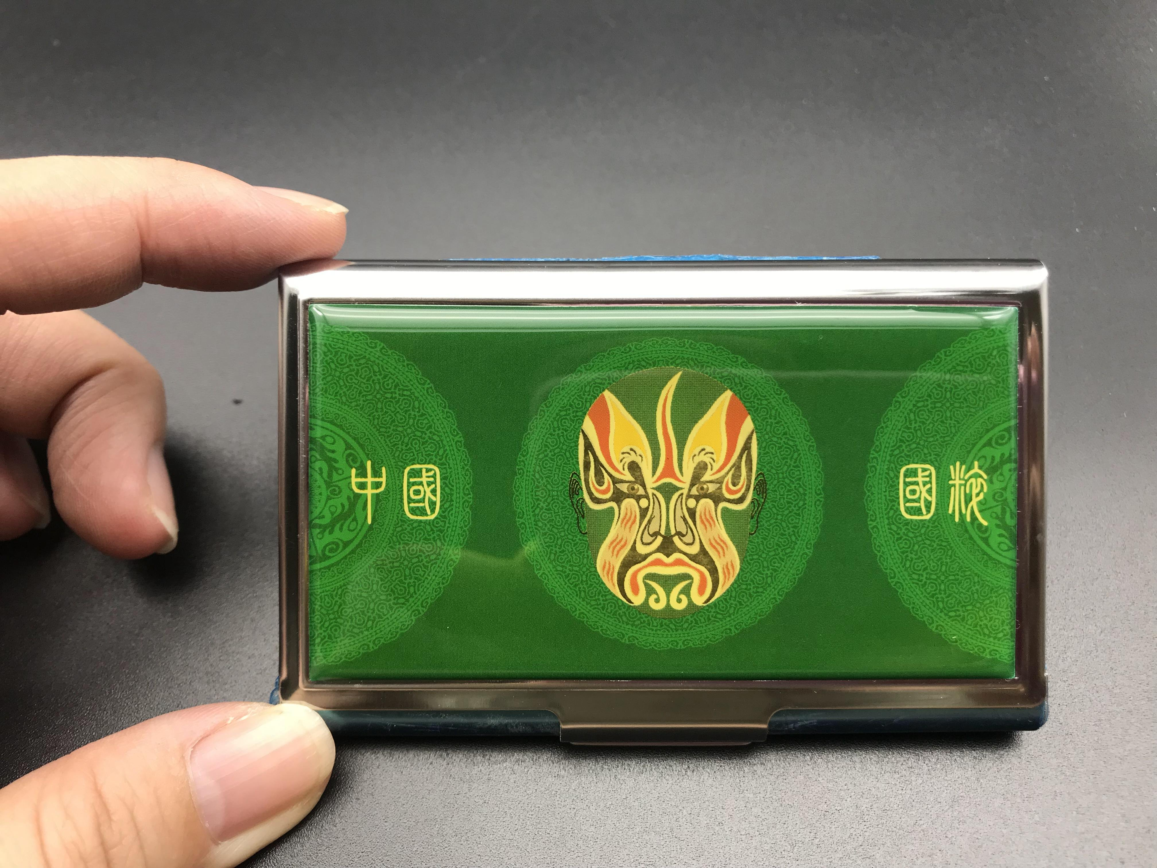 K-017 綠色臉譜 拉絲名片盒 收納盒 銀行卡盒 卡包展會 男女 商務不鏽鋼名片盒名片夾 高檔金屬薄款
