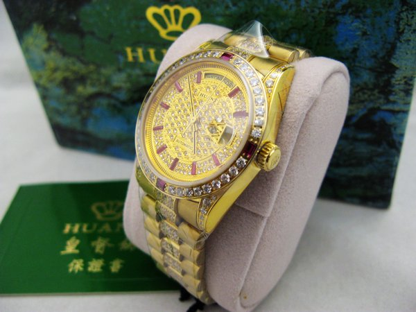 HUANT WATCH 瑞士自動上鍊eta機蕊勞力士款金色高級滿天星中排精鑽男腕錶型號:HR751G-1