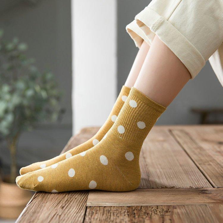 Maisobo 韓 秋冬 可愛撞色圓點百搭中統襪 襪子 5色  TA-268 預購