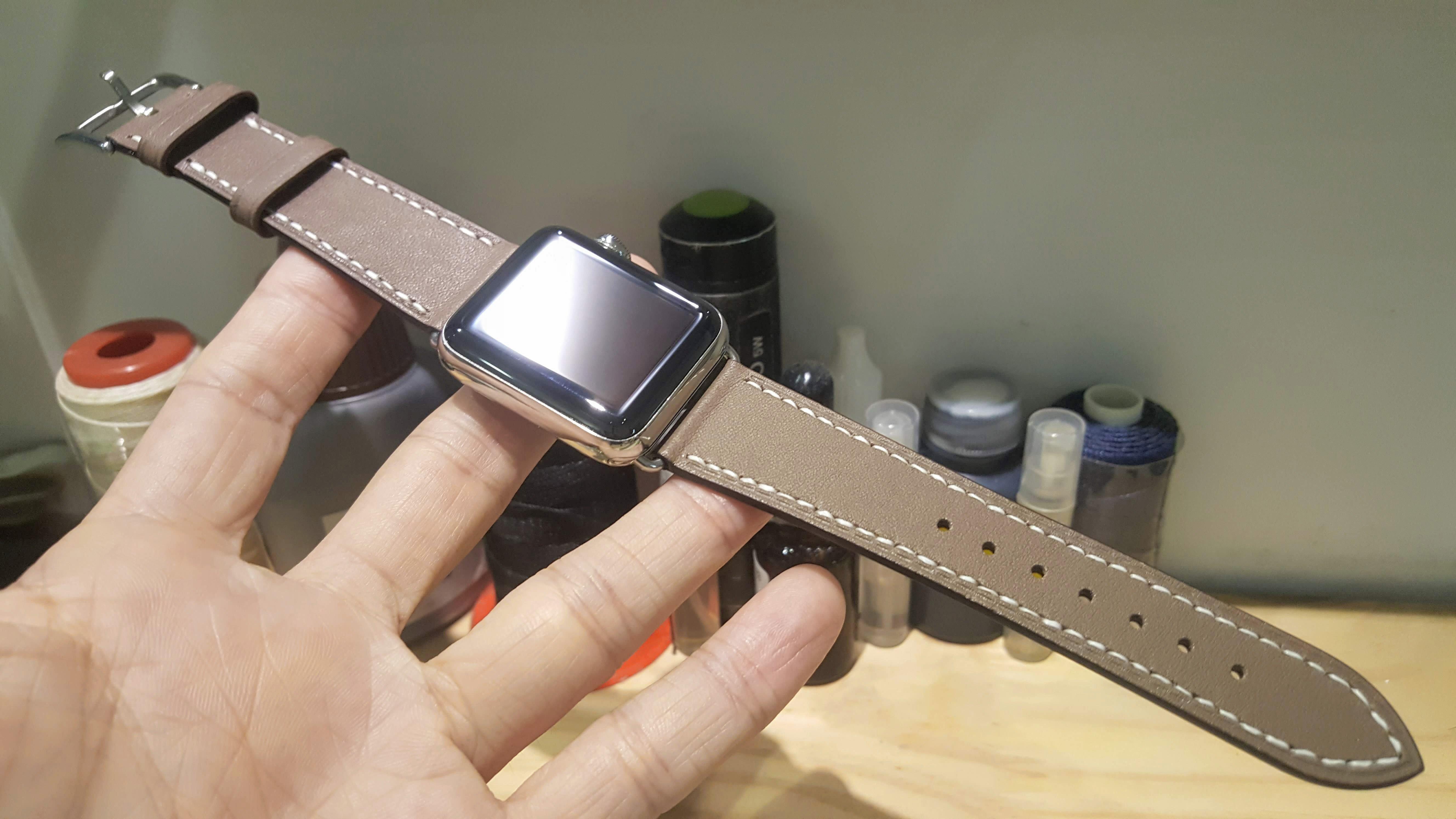 獨家現貨038 不鏽鋼42mm apple watch 悠遊卡晶片錶帶 Etoupe 22mm