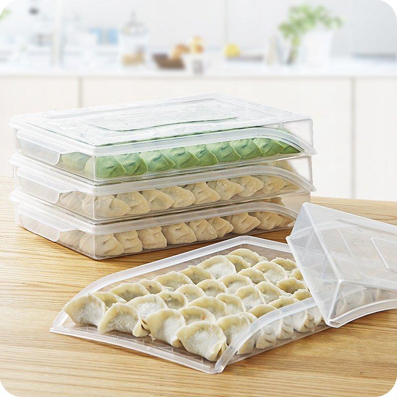 吖吖雜貨店*廚房水餃托盤家用速凍餃子盒子冰箱保鮮盒食物冷凍盒收納盒