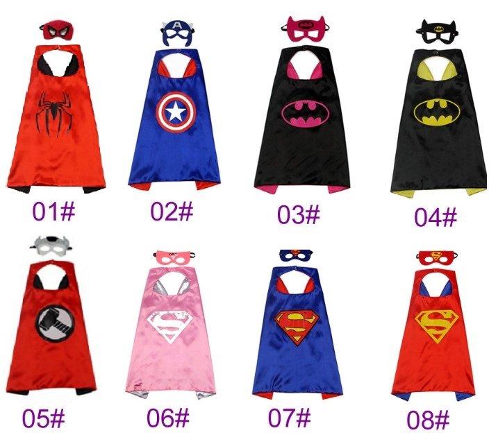 大量 有實拍圖雙層cosplay超級英雄披風美國隊長蝙蝠俠鋼鐵俠蜘蛛俠超人兒童斗篷披風眼罩雙層萬聖節服飾聖誕節裝扮