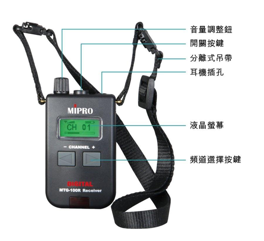 【昌明視聽】數位式接收機 MIPRO MTG-100R 含耳機 導覽會議系統 另有MTG-100T 接收器