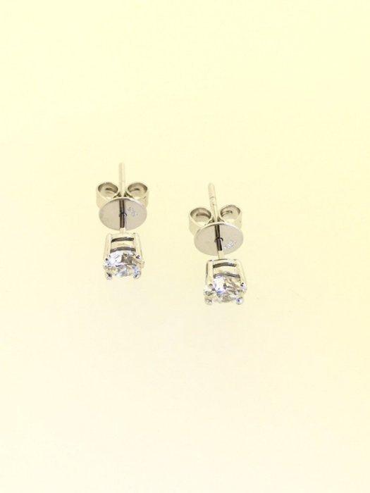 【益成當舖】流當品 (已售出)特價結緣 白K金22分(共0.44克拉)四爪鑽石耳環耳釘