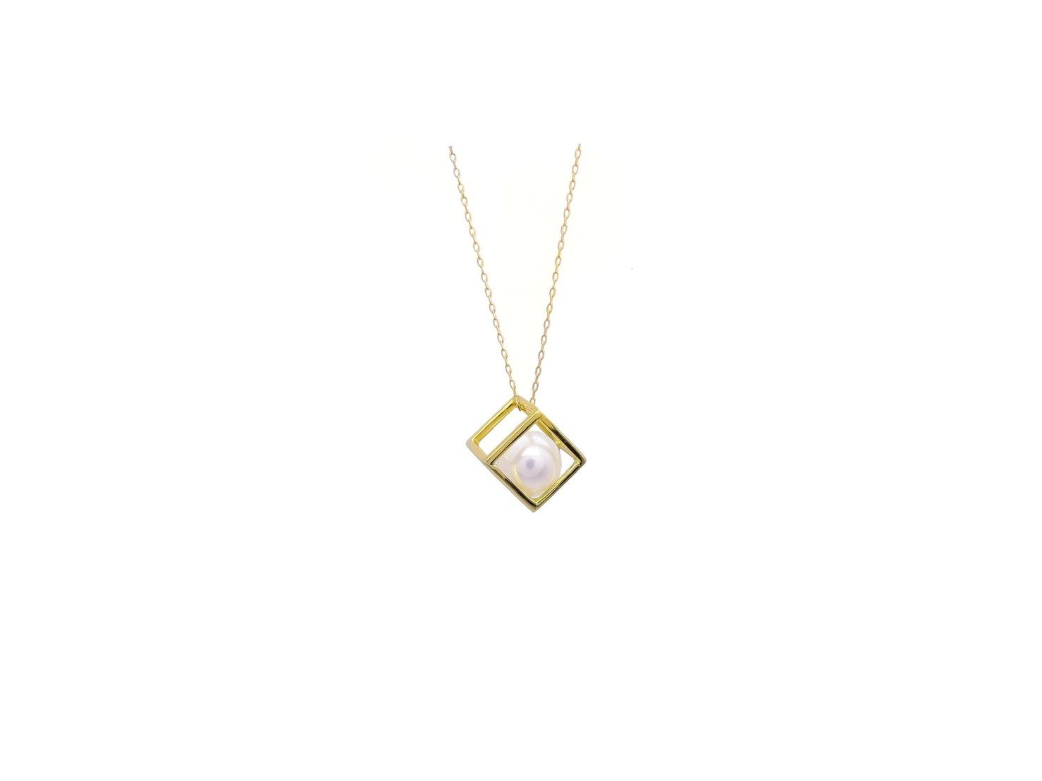 【D-W 鑽石世界】14K金 Akoya日本珍珠 立體方框珍珠項鍊 --21