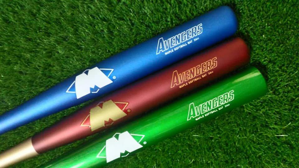 ((綠野運動廠))最新Master麥斯特手作球棒AVENGERS復仇者系列~北美楓木壘球棒(三款)亮麗烤漆好打彈性佳