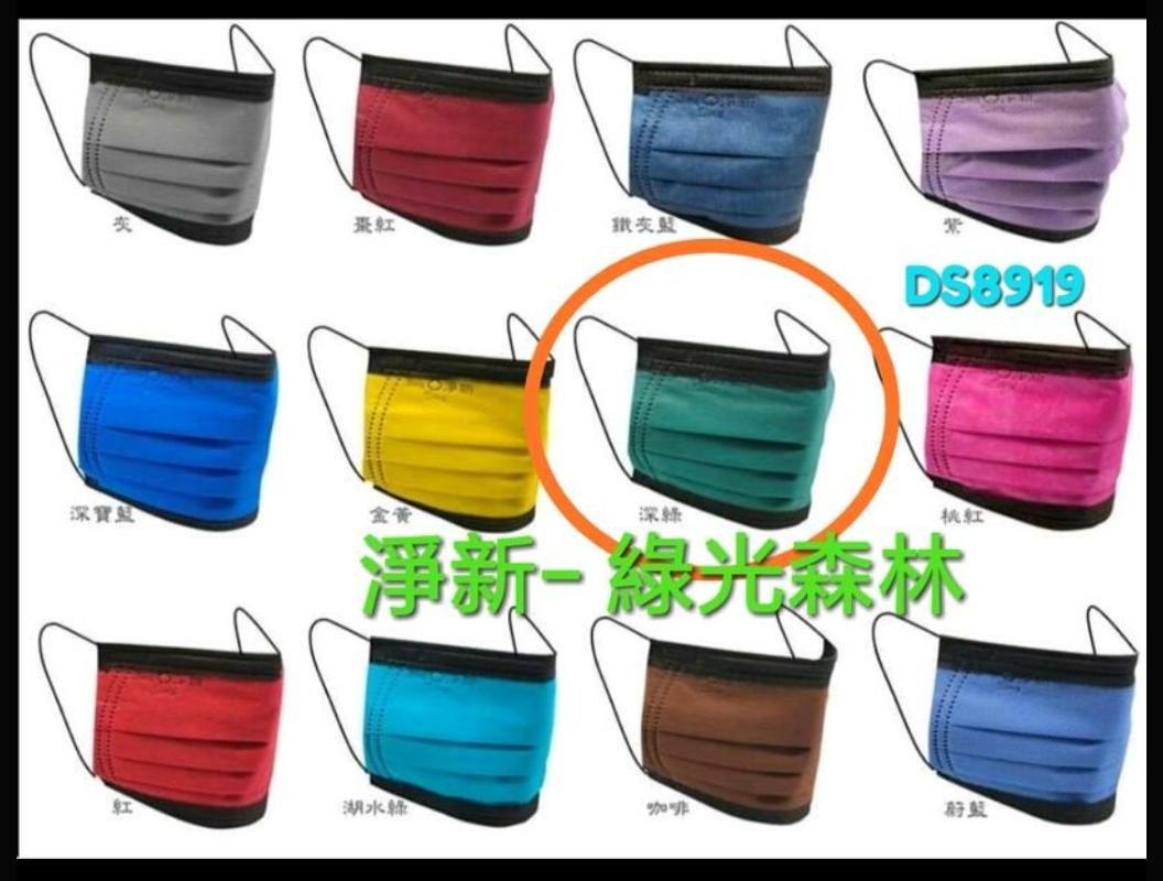 (撞色款) 淨新 綠光森林 成人 平面 口罩 綠色 X 黑色 50片盒裝 台灣製 MIT鋼印(滿千 贈護目鏡 台製優良品)