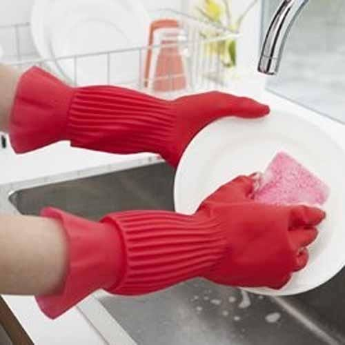 芭比日貨~* 天然橡膠 家事 洗碗 手套 M
