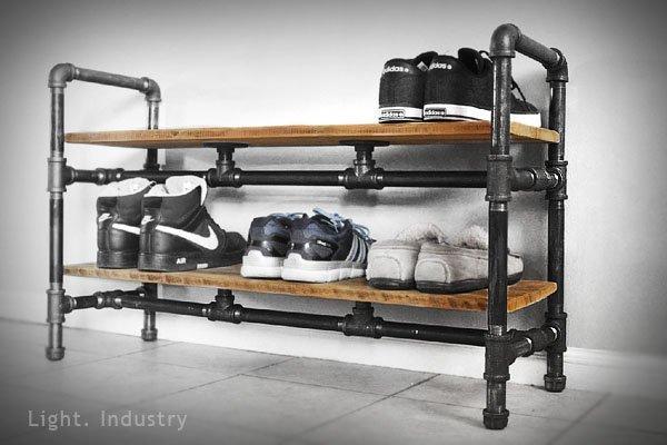 【 輕工業  】仿舊黑鐵水管多層鞋架—可訂製定作實木板鞋櫃置物架紅酒架承板收納壁掛展示衣帽架服裝店工業風北 式鄉村