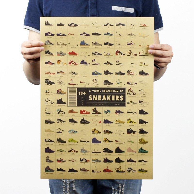 【貼貼屋】歷代球鞋大集合 懷舊 復古風格 牛皮紙 海報 壁貼 店面裝飾 電影海報 317