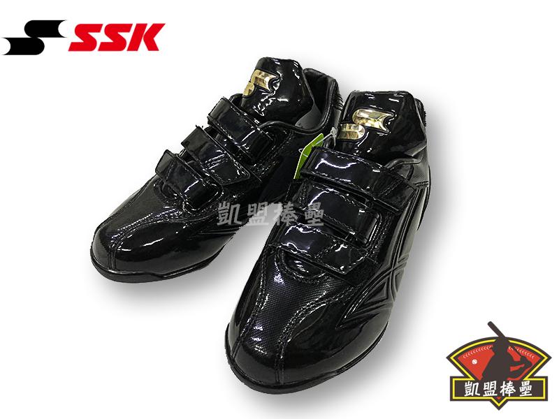 【凱盟棒壘】日本進口SSK 兒童棒球鞋 SSF4000-黑 魔鬼氈膠釘鞋 自黏式壘球膠釘鞋(有成人尺寸)
