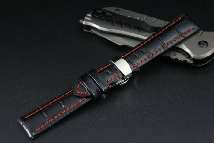 22mm高質感Banda 可替代TAG,BREITLING豪雅百年靈原廠錶帶之真牛皮錶帶雙按式超方便蝴蝶扣