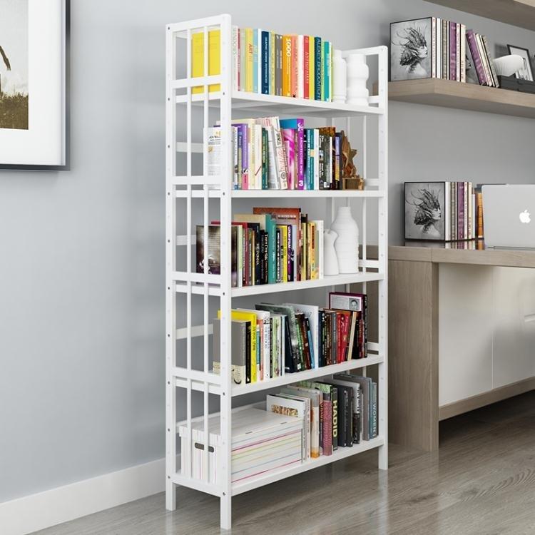 [特惠免運]書架 簡易白色書架落地書柜置物架簡約 實木兒童學生用桌上楠竹書架—《MONA》