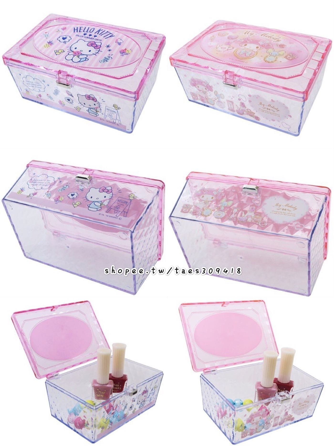 三麗鷗 HELLO KITTY 凱蒂貓 美樂蒂 雙子星 透明小物收納盒 透明盒 小物盒 收納盒 置物盒 掀蓋盒 梳妝盒 化妝盒 飾品盒 三款