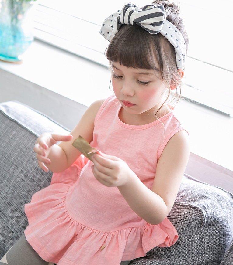 【Mr. Soar】 G414  韓國style 女童荷葉邊衣襬無袖上衣