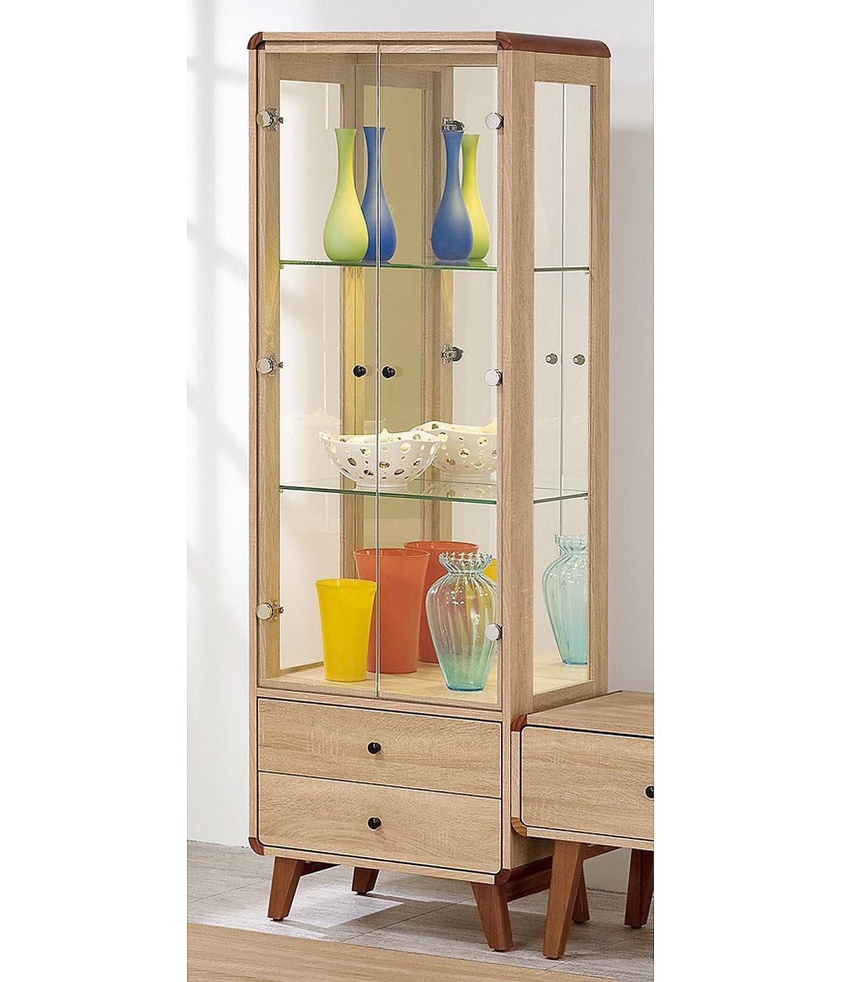 【森可家居】柏克2尺展示櫃 8ZX578-3 客廳收納 玻璃 酒櫃 模型櫃 木紋 無印風 北歐風