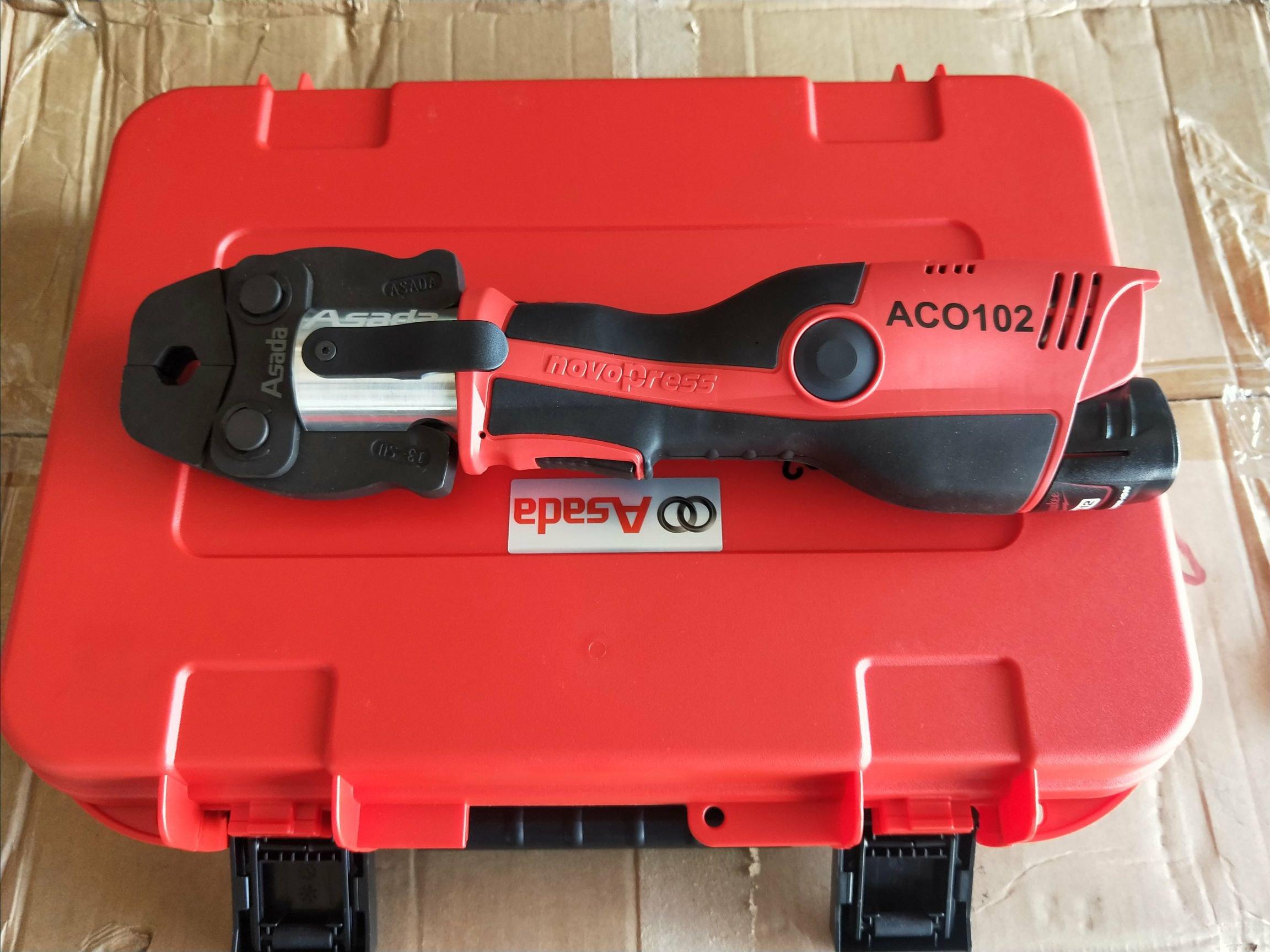 工具醫院 ASADA 淺田 ACO102 novopress 12V 米沃奇 迷你型充電式不銹鋼管壓接機 AC0102 (全配 )特價!!