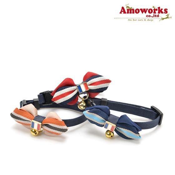 ◎貓屋住宿◎ Amoworks 項圈 鈴鐺法式領結(藍、米、紅)