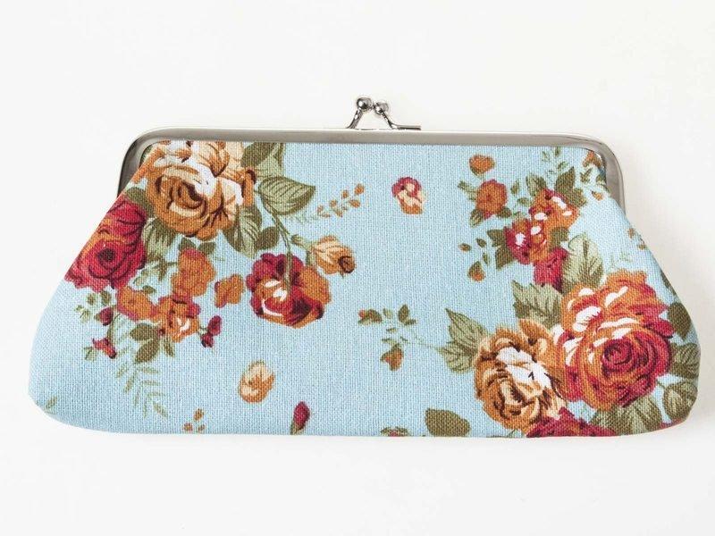 【幸福2次方】女士錢包 玫瑰帆布長款錢包 印花手機包 零錢包 布藝學生收納包 - 多色可選
