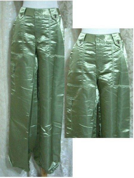 ~麗麗ㄉ大碼舖~大尺寸#11-13(34-36吋)金色亮緞質料褲管抽繩薄款長褲~金屬色系
