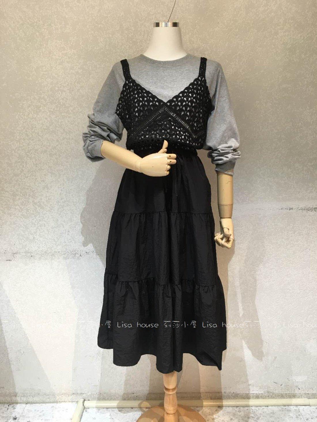 【莉莎小屋】正韓 秋冬新品(現貨) 💝韓國連線代購-假兩件蕾絲背心洋裝👚👖E200902