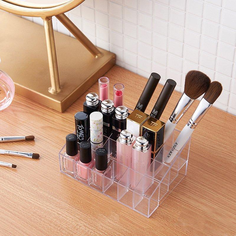 桌面整理 化妝品收納盒亞克力放口紅的展示架子專柜高檔梯形歐式24格彩妝架化妝品收納盒