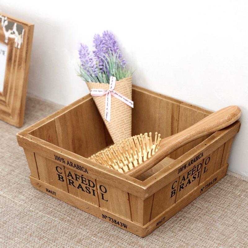 桌上收納 置物架zakka雜貨木質多肉植物花盆木盒 木制復古梯形矮款淺底桌面收納盒