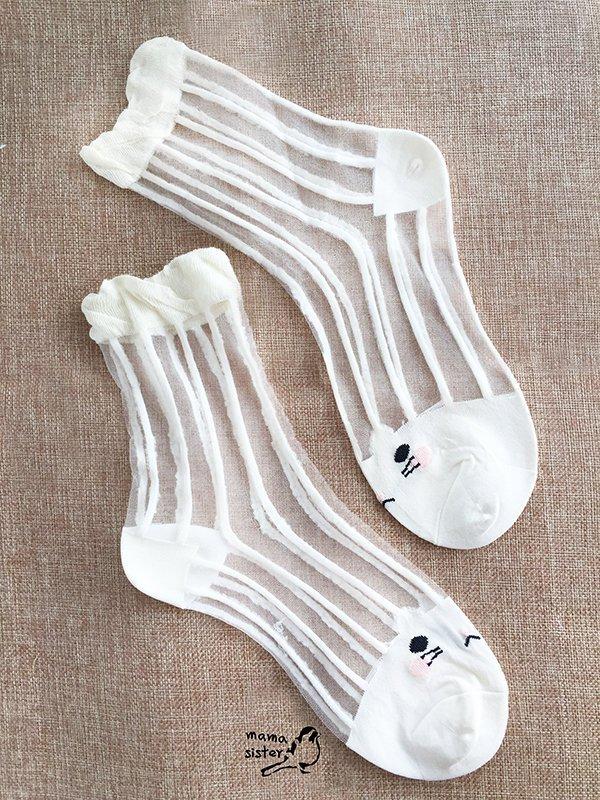 [mama sister]  [可愛喵咪] 細豎條紋 水晶襪 玻璃 絲襪 堆堆襪 超透氣不悶熱 今夏 襪款