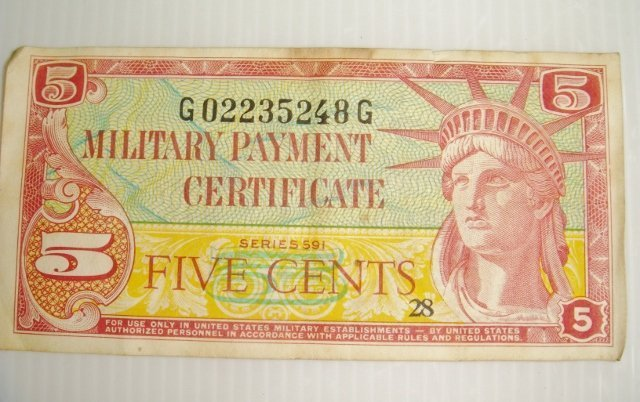 MILITARY PAYMENT CERTIFICATES SERIES 591, (1961-1964年)