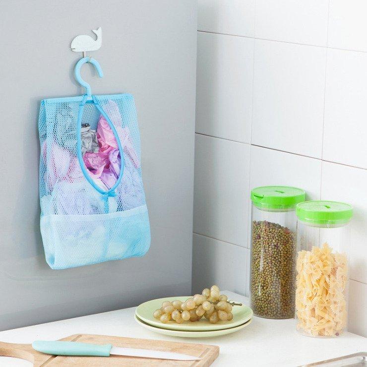 超  可掛式多用途收納網袋 曬衣夾子網袋 廚房浴室多用掛袋 3入組 收納袋