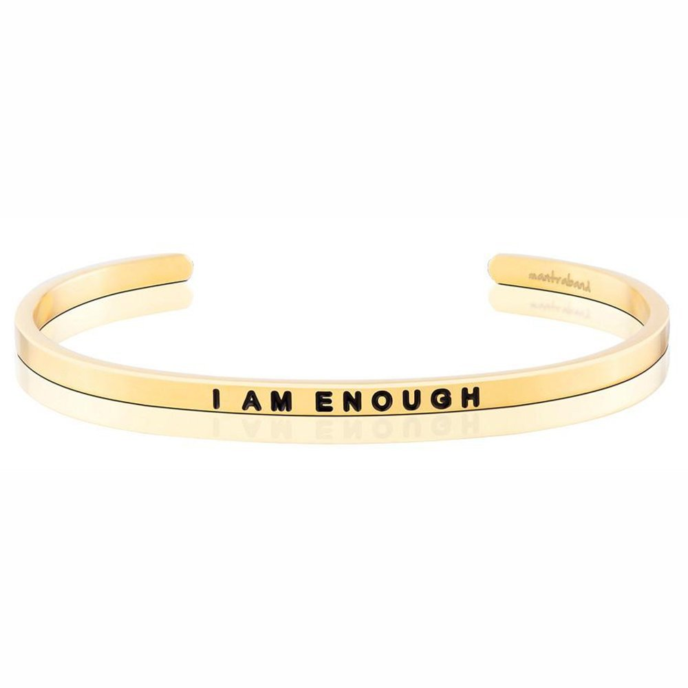 MANTRABAND 美國悄悄話手環 I Am Enough 我已足夠 金色手環
