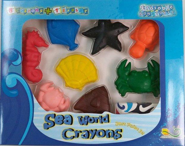 【允拓小舖】海洋動物蠟筆 8 1盒裝(Polymer可擦拭蠟筆) 環保無毒文具 專賣