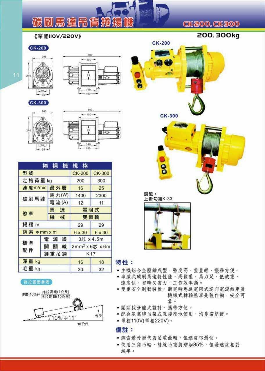 WIN 五金 基業牌 高揚程 碳刷式吊磚機 CK-300 高樓小吊車 小金剛 電動吊車 免運費