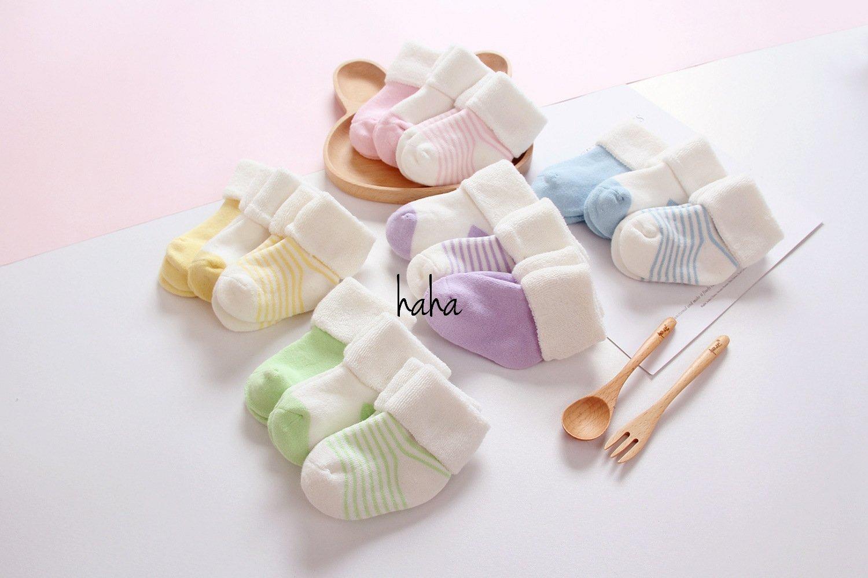 【Q娃屋】 冬款毛圈襪厚短襪嬰兒襪娃娃襪初生寶寶襪反折襪小清 三雙ㄧ組準媽咪 款