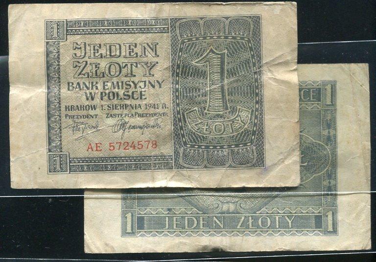 POLAND (波蘭紙鈔), P99 , 1-ZLORT , 1941 ,品相普F