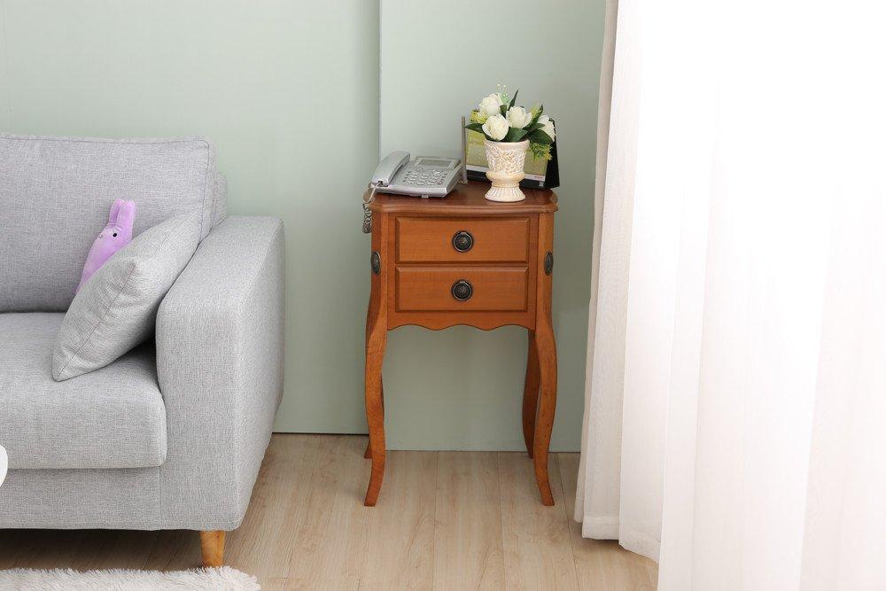 佧蘿家居館-英式 葛瑞絲雙抽方型床頭櫃
