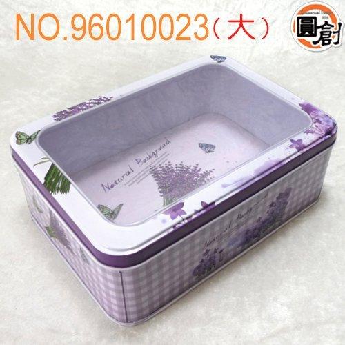 【圓創烘焙包裝、 包裝】夢幻紫花開窗鐵盒(L)  紙袋、 、塑膠袋、壓克力訂作