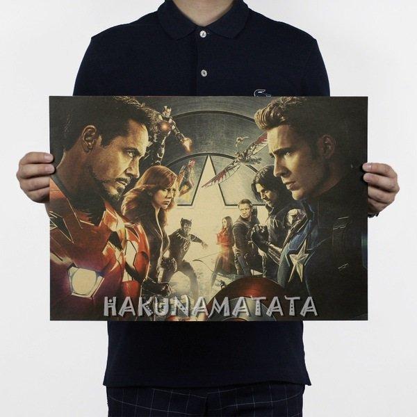 【貼貼屋】美國隊長3:英雄內戰 電影 漫威系列 懷舊復古 牛皮紙海報 壁貼 店面裝飾  494