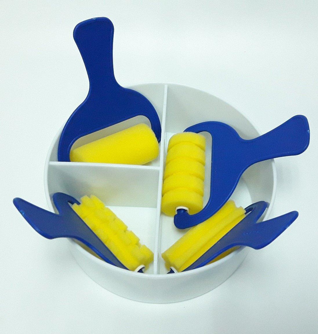 【五旬藝博士】4大滾輪刷具 大三格組 水彩滾輪刷 刷 拓印 拖色 滾輪印章 海綿 顏料輪廓拓印