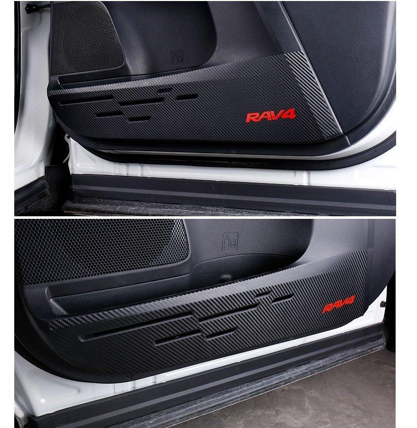 2014 2018 RAV4 車門防踢墊  碳纖紋 送刮片