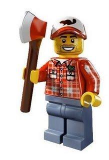 絕版品【LEGO 樂高】玩具 積木 Minifigures人偶包系列: 5代 8805 單一人偶: 伐木工人 狼人前身